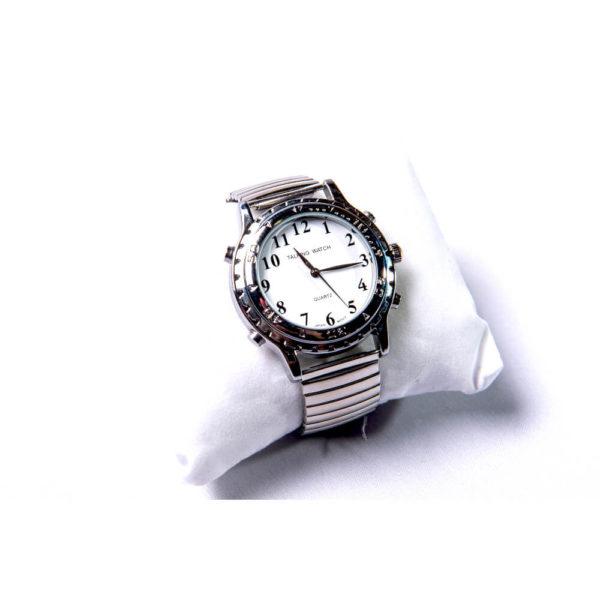 Relógio que fala as horas em português com pulseira metalizada
